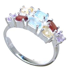 Magnificent Multigem Sterling Silver Ring Size P