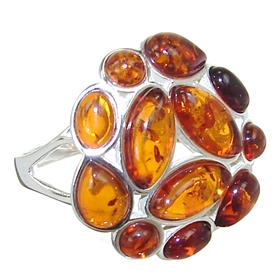 Baltic Amber Sterling Silver Gemstone Ring size Q
