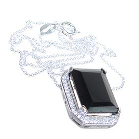 Elegant Onyx Sterling Silver Necklace 16 inches long