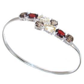 Incredible Multigem Sterling Silver Bracelet Bangle