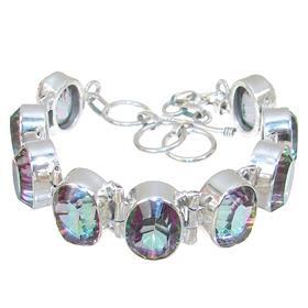 Solid Mystic Quartz Sterling Silver Bracelet