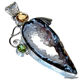Holo Druzy Sterling Silver Pendant Jewellery