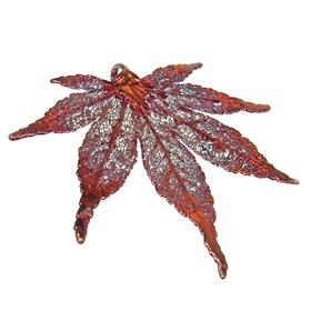 Large Unique Real Leaf Dipped in Copper Pendant