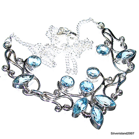 Blue Genuine Topaz Sterling Silver Necklace Jewellery