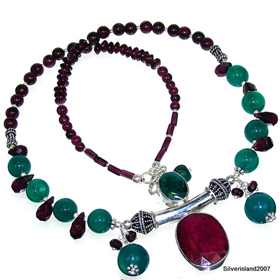 Ruby, Emerald Sterling Silver Necklace Jewellery