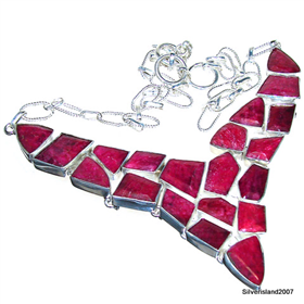 Ruby Sterling Silver Necklace Jewellery