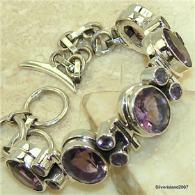 Purple Amethyst Sterling  Silver Bracelet Jewellery