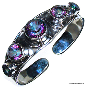 Incredible Mystic Topaz Sterling Silver Bangle Bracelet Jewellery