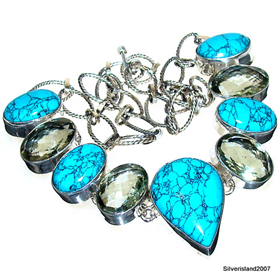 Turquoise, Green Amethyst Sterling Silver Necklace Jewellery