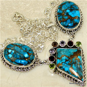 "Massive Copper Turquoise Sterling Silver Necklace 18"" long. Silver Gemstone Necklace."