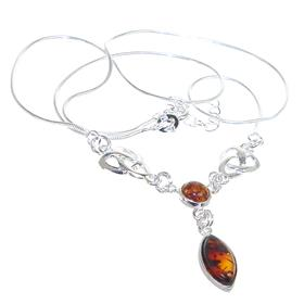 Designer Baltic Amber Sterling Silver Necklace 20 inches long