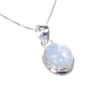 Moonstone Sterling Silver Necklace 18 inches long