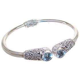 Solid Blue Topaz Sterling Silver Bracelet Bangle