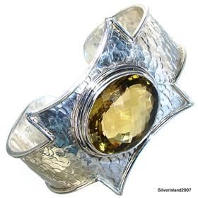 Wonderful Citrine Sterling Silver Bangle. Silver Gemstone Bangle.