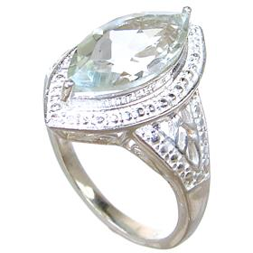 Green Amethyst Sterling Silver Ring size L 1/2