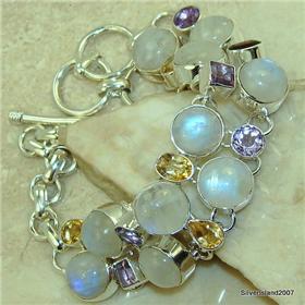 Rainbow Moonstone Sterling Silver Bracelet.Silver Gemstone Bracelet