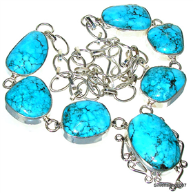 Turquoise Sterling Silver Necklace 20 inches long