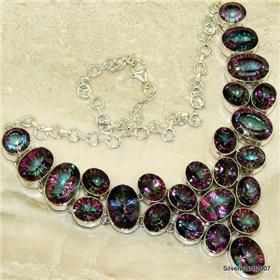 Huge Mystic Topaz Sterling Silver Necklace. Silver Gemstone Necklace.