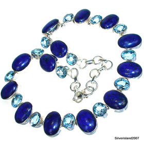 Blue topaz, Lapis Lazuli Sterling Silver Necklace. Silver Gemstone Necklace.