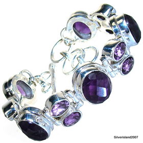 Incredible Amethyst Sterling Silver Bracelet. Silver Gemstone Bracelet.