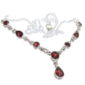 Amazing Garnet Sterling Silver Necklace 18 inches long