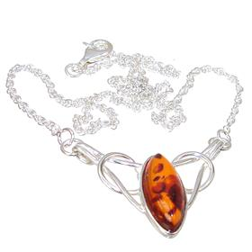 Baltic Amber Sterling Silver Necklace 15 inches long
