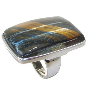Solid Tiger Eye Sterling Silver Ring size Q