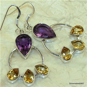 Citrine, Amethyst Sterling Silver Earrings. Silver Gemstone Earrings
