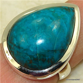 Large Chrysocolla Sterling Silver Ring Size O 1/2. Silver Gemstone Ring