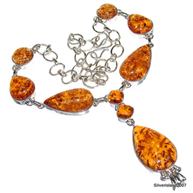 Amber Sterling Silver Necklace. Silver Gemstone Necklace.