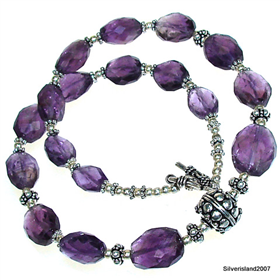 Genuine Purple Amethyst Sterling Silver Necklace Jewellery