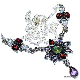 "Amethyst, Peridot Sterling Silver Necklace 16"". Silver Gemstone Necklace."