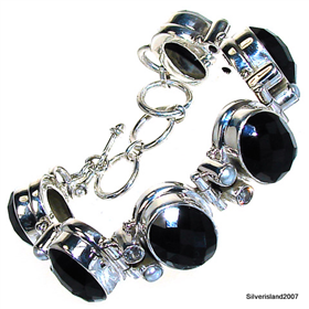 Wonderful Black Onyx Sterling Silver Bracelet. Silver Gemstone Bracelet.
