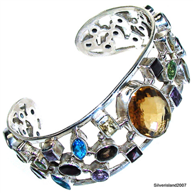 Stunning Multigem Sterling Silver Bangle Bracelet Jewellery.Silver Gemstone Bracelet.