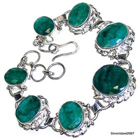 Wonderful Emerald Sterling Silver Bracelet. Silver Gemstone Bracelet.