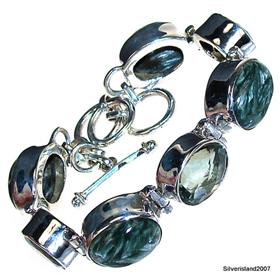 Incredible Design! Green Amethyst Sterling Silver Bracelet. Silver Gemstone Bracelet.