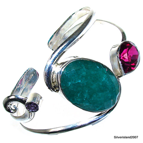 Emerald Sterling Silver Bangle.Silver Gemstone Bracelet.