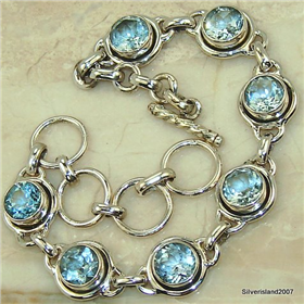 Incredible Blue Topaz Sterling Silver Bracelet.Silver Gemstone Bracelet