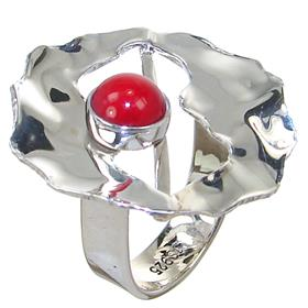 Red Coral Sterling Silver Ring size P