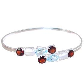 Multigem Sterling Silver Bracelet Bangle