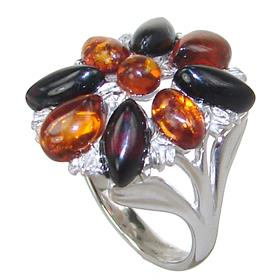 Fancy Baltic Amber Sterling Silver Ring size O