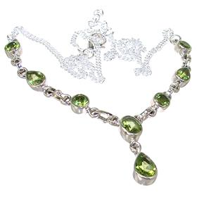 Elegant Peridot Sterling Silver Necklace 18 inches long