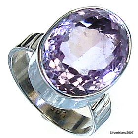 Amethyst Sterling Silver Ring size M. Silver Gemstone Ring.