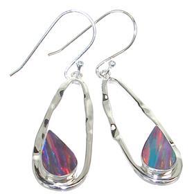 Created Sparkle Opal Sterling Silver Earrings