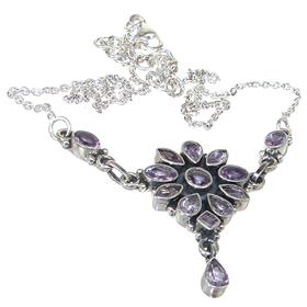 Designer Amethyst Sterling Silver Necklace 17 inches long