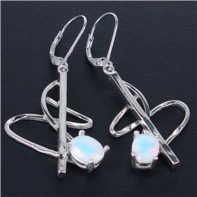 Designer Fire Opalite Sterling Silver Earrings