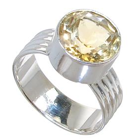 Sunny Citrine Sterling Silver Ring size R