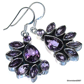 Amethyst  Sterling Silver Earrings Jewellery.Silver Gemstone Earrings.