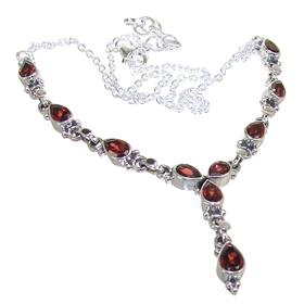 Amazing Garnet Sterling Silver Necklace 16 inches long