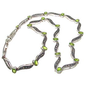 Elegant Peridot Sterling Silver Necklace 16 inches long